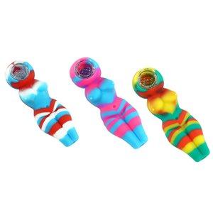 4,1-Zoll-Silikon-Rauch-Rohr Sexy Frau Form Bubbler Pfeifentabak Rohr für trockene Kräuter Twisty Glas Blunt
