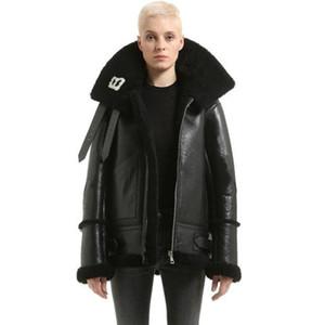 Luxus Designer Jacke Weibliche Revers Buchstaben LOGO Pelz Reißverschluss Lederjacke Schwarz Männer Und Frauen Paar Hohe Qualität HFWPJK116