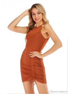 Ladies Fashion Solid Color Dress Summer Designer Spaghetti Dresses Womens Casual Holiday Apparel with Ribbon