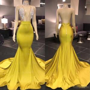 Желтый вечер Wear Dresse 2020 Modest African Саудовской Аравии Beads женщин официально платье выпускной вечер платье знаменитость Robe De Soiree Backless