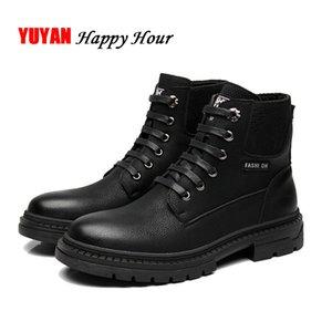 Осень Ранняя зима Сапоги мужские кожаные ботильоны Soft Повседневная мужская Мужской Black Winter обувь A231