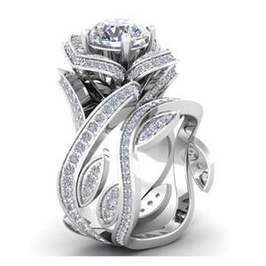 Rose Anéis Flor Zircon Flor Folha Enrole anel de diamante anel de cristal por Mulheres nupcial do partido do presente de casamento dos Namorados Jóias
