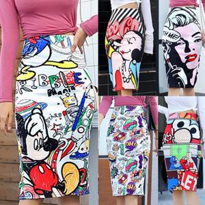 Bonjean 2020 Women's Pencil Skirt New Cartoon Mouse Print High Waist Slim Skirts Women Young Girl Summer Female Falda Y200704