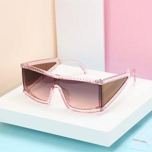 Kare Siyam Kristal Moda Güneş Kare Çerçeve 4 Mercek Rhinestone Deco Gözlükler UK Moda Kare Güneş