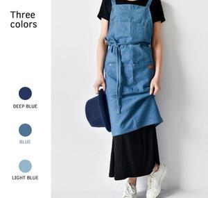 Delantal de mezclilla para la cocina unisex Trabajo delantal bartender delantal babero bolsillo regalo Chef cocina delantal