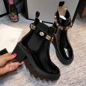 La nueva llegada mujeres de la marca botas de cuero de lujo de los cargadores de Martin atractivo del talón grueso Desierto Plataforma de arranque estrella abeja 100% cuero genuino zapatos de invierno