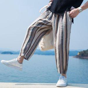 Pop2019 Xia Xinkuan Ripristina i modi antichi Easy Haren Flax nella National Customs Literature Cotton Stripe Cool Time Pants