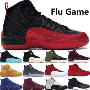 vendita calde CNY Flu gioco 12 12s Jumpman scarpe da basket Gamma Blue Wings playoff mens grigio scuro stilista scarpe Trainer US7-13
