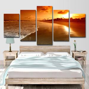 Dipinti su tela Soggiorno Decorazioni per la casa Stampe HD Poster 5 Pezzi Spiaggia Mare Onde Tramonto Paesaggio marino Immagini Wall Art Poster su tela Senza cornice