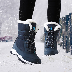 2018 Moda mujer botas antideslizante impermeable de invierno tobillo botas para la nieve plataforma de mujer zapatos de invierno con botas de piel gruesa mujer