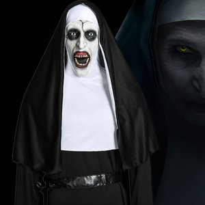 Movie The Nun Mask Cosplay Valak Costume Virgin Mary Monja Latex Horror Mask Deluxe Scary Costumes For Man Woman Halloween Party T200703