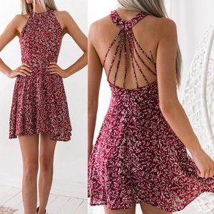 New fashion street trend sexy hanging neck features floral halter print dress European and American ladies Party Dresses S-XL