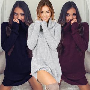 Vestido suéter de las mujeres ropa de invierno suelta de manga larga de gran tamaño Jumper tapas de la camisa de vestir bata tire Nueva Pullover otoño