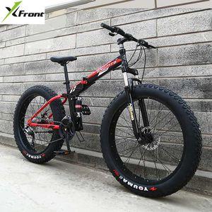 New X-Front Marque 24/26 4.0 gros pneu roue 7/21/24/27 vitesse à quatre bras doux VTT pliant cadre queue descente VTT vélo