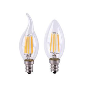 E12 E14 B22 E27 AC110V 220V Нить Светодиодная Свеча Лампа 2W 4W 6W Регулируемая лампочка Ретро Эдисон Лампа Вольфрама