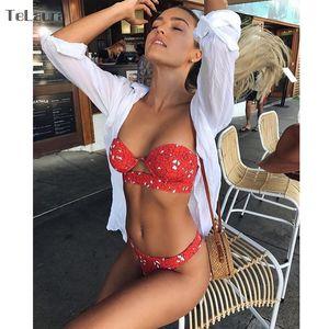 TeLaura 2019 Sexy Bikini Maillots de bain Maillot de bain femme Push Up Bandage Ensemble bikini évider Beachwear Biquini Maillot de Bain Femme T200509