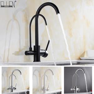 Küchenarmaturen aus massivem Messing Kran für Küche gereinigtes Wasser-Filter-Hahn Drei Wege-Wannen-Mischer 3-Wege-Küchenarmatur ELM134 T200424