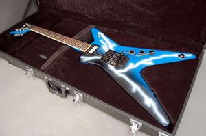 Dimebag iconico personalizzato Darrell Dime da Hell Lightning Blue Guitar Electric Guitar Dot Inlay, Floyd Rose Tremolo Doce di bloccaggio, hardware cromato