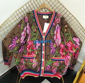 하이 엔드 여성 여자는 모두 긴 소매 니트 패션 디자인 꼭대기 연동 꽃 무늬 가디건 버튼 V 넥을 통해 스웨터 재킷 니트