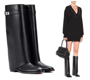 Paris flache Stiefel aus echtem Leder lange Knight Stiefel Frau runde Zehen niedrigen Absätzen und Knie mittlere Stiefel Damen