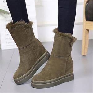 Mujer tacones altos botines de gamuza cuñas de la plataforma del tobillo cargadores de las señoras invierno gruesa felpa botas de nieve caliente 8.5cm Aumento Interna