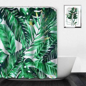 Las plantas tropicales verano cortina de ducha de poliéster impermeable baño cortina de ducha hojas de impresión cortinas para baño