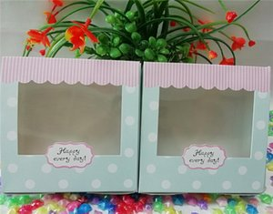5pcs 13.5 * 13.5 * 5cm Small Cake Box Kraft Paper Cupcake Box With Clear Window DIY Sweet Gift Packaging Box