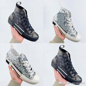 Vintage Top 19FW B23 B24 Oblique High Low Shoes Casual Sneakers Plataforma dos homens de couro de luxo Calçados da forma das mulheres Trainers Tamanho 36-44
