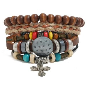 2020 Hot sale 100% genuine leather bracelet DIY Hemp rope Five stars cross Beading Men's Combination suit Bracelet 3styles 1set