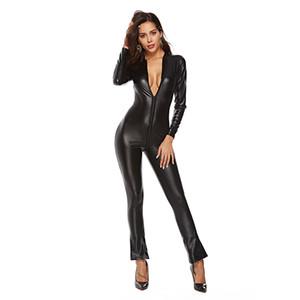 Tamaño más Charol 2XL 3XL Catsuit de la cremallera de la entrepierna 50% Sexy Body Catwoman de gran tamaño clásico Fetiche PVC Mono