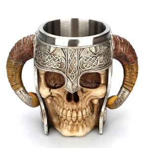 Crâne Mug Viking Ram Corne Pit Pit Warrior Beer Stein Tankard Tasse À Café Halloween Décoration Squelette Bar Drinkware Coupe