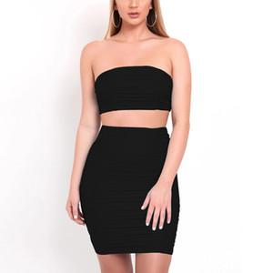 Summer 2020 new women's Sexy Slim vest pleated bra two-piece set hip skirt