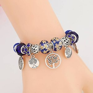 Dropshipping HOT Silver Tree of Life Fashion Bead Bracelet Green Leaf Floral Crystal Charms Bracelet & Bangle Pulsera Jewelry