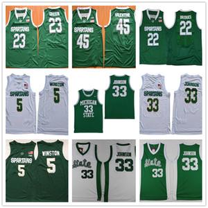 NCAA Michigan State Spartans # 5 Cassius Winston # 33 Johnson Magie 22 Miles Brücken 23 Draymond Green 45 Valentine College Basketball-Trikots