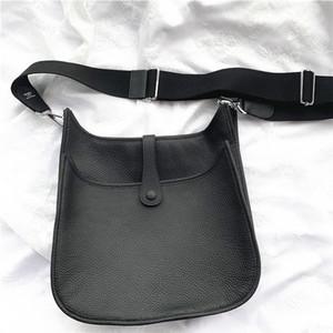 Señora de cuero Bolso de moda Retro simple de la letra H ancha correa de hombro grande Casual Capacidad de la bolsa de mensajero