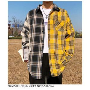 Корейские рубашки пледа для мужчин Моды Лоскутного длинного рукав Повседневной рубашки Hip Hop Streetwear Man Блузы