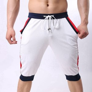 Mens Spring Body Building Darwstring Half Length Pants Men Patchwork Color Casual Three Quarter Trousers Male Panties