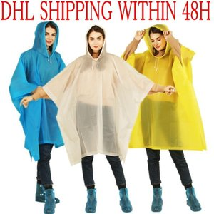 DHL de envío EVA abrigo impermeable para no desechable espesado color sólido del impermeable E-Friendly impermeable impermeable al aire libre viaje largo Rainwear FY6058