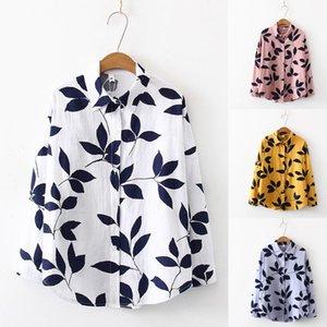 Imprimé caractère coréen femmes Graffiti Streetwear Turn Down manches longues en coton à manches en vrac Chemise # T10G