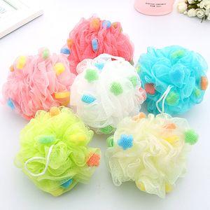 DHL Shipping Large Bath Ball Bathing Brushes Body Exfoliate Puff Sponge Mesh Net Candy Colors Mesh Sponge Soft Bath Brush Flower Scrubbers