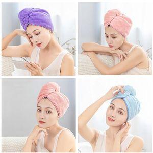 Toalha do cabelo de microfibra rápida DryWomen Shampoo rápida Magia Secador Enrole Toalha Duche Cap Scrub limpeza ferramenta banheiro Cabelo Cap Enrole com Botão