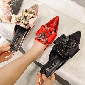 Goddess2019 Sandalias afiladas Mujeres de fondo plano Rhinestone Panda Mujer Muller Zapato Arco Paillette Cool Slipper