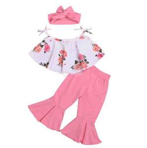 Yaz kızlar pembe çiçek baskı üstleri kapalı omuz üst pembe fırfır pantolon yay bandı 3 adet set