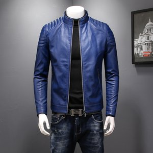 Jacket Mens Inverno Mens Outono de couro Jaquetas Casacos Men Outwear PU Leather Slim Fit Asiático Tamanho M-3XL