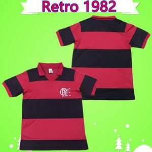 Clube de Regatas Do Flamengo 1982 Rétro Soccer Jerseys Home Rouge et Noir Vintage Maillo Camiseta Chemises de football antique