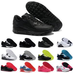 Kutu ile Mens Sneakers Ayakkabı klasik 90 Erkekler rahat Ayakkabılar Siyah Kırmızı Beyaz Spor Eğitmeni Alr Yastık Yüzey Nefes Spor Ayakkabı 36-45