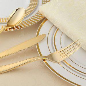 60 Conjunto de oro desechables vajilla, cocina para cenar al aire libre equipos desechables Cuchillo Cuchara Tenedor Vajilla