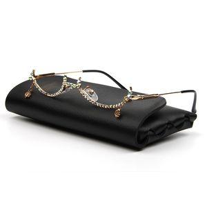 Mode Brillen-Legierung Rahmen-Wasser-Tropfen Objektiv weniger Kettenanhänger Halb Feld-Frauen Luxuxdiamanten Glasses