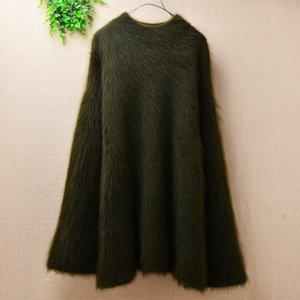 Зима дамы средней длины сплошной цвет толстый теплый ангора норка вязаная куртка расклешенные рукава о-шея базовый свитер пуловер