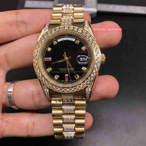 Orologi vigilanza di affari d'oro dell'acciaio inossidabile della vigilanza Diamante Bezel orologio Medio Row diamante cinghia meccanico automatico Boutique Uomo